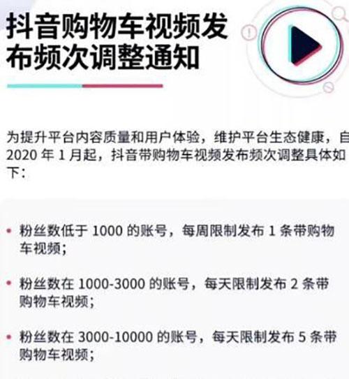 抖音带货规则最新调整:购物车视频发布次数由粉丝数决定